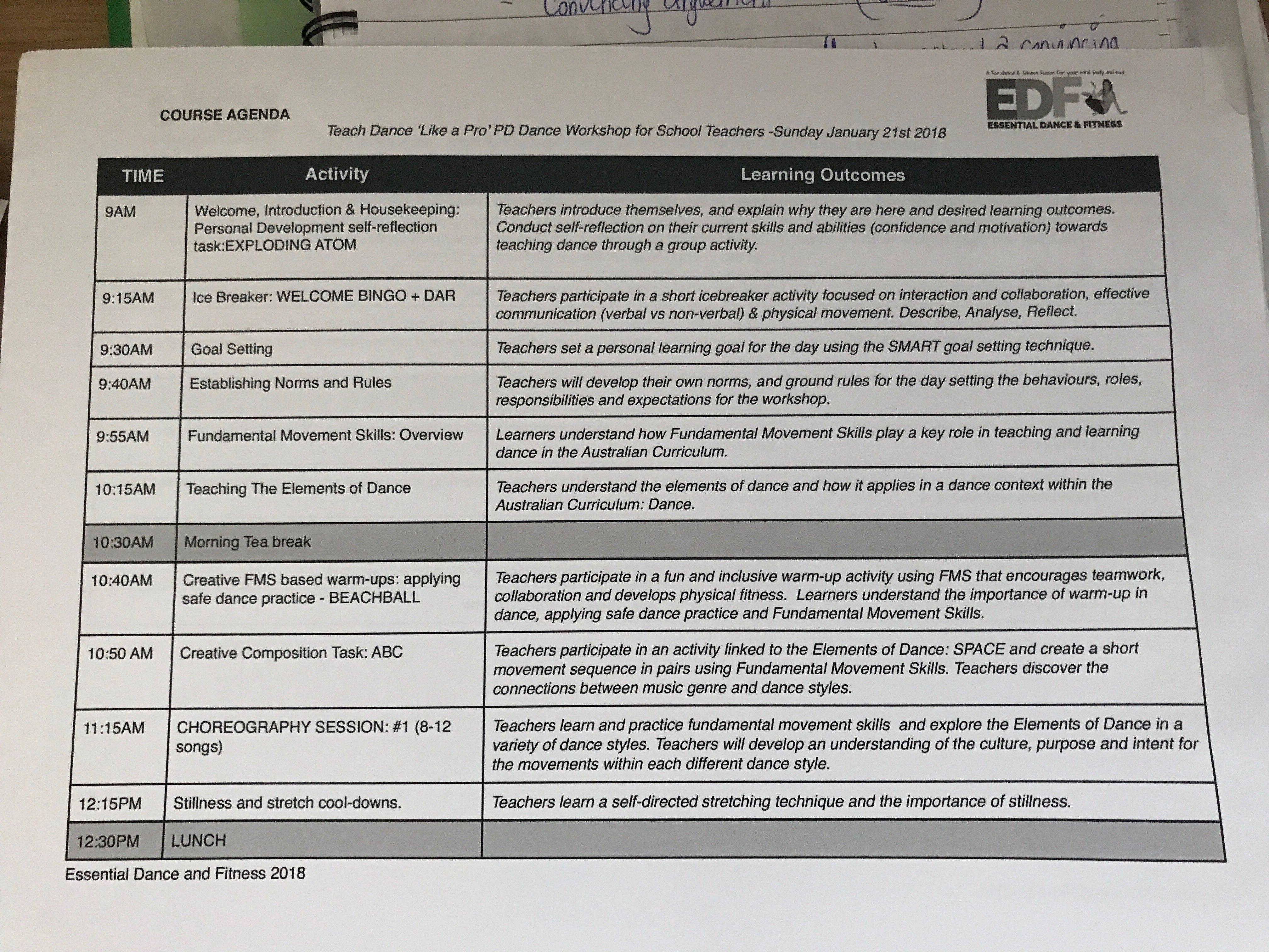 course agenda